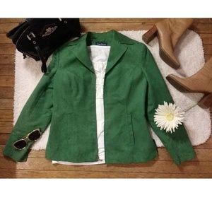 Evan-Picone faux suede emerald jacket/blazer